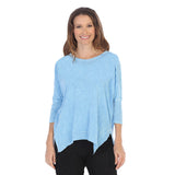 Jess & Jane Solid Mineral Washed Cotton Top in Sky Blue - M15-SKY