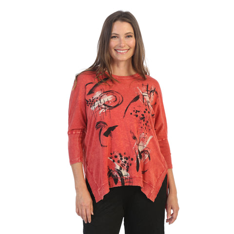 "Jess & Jane ""Tic Tac"" Cotton Top in Red - M15-1528"