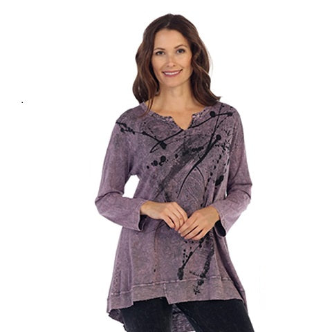 "Jess & Jane ""Imagination"" Cotton Jersey V-Neck Tunic Top - M26-1174 - Size M Only"