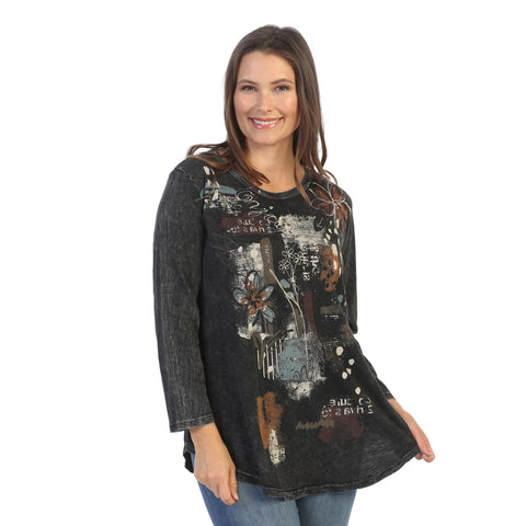 "Jess & Jane ""Travelogue"" Mineral Washed Top - M28-1530 - Sizes S & 3X"
