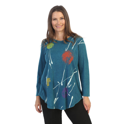 "Jess & Jane ""Orbs"" Abstract Print Mineral Washed Tunic Top - M28-1532 - Sizes M through 1X"