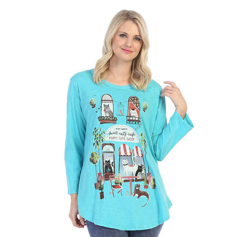 "Jess & Jane ""Cat Cafe"" Mineral Washed Top - M28-1465"