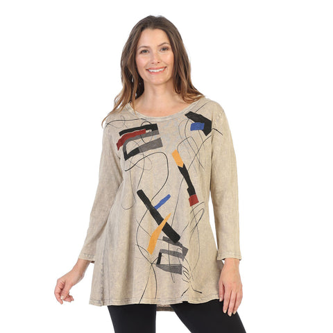 "Jess & Jane ""Contour"" Mineral Washed Cotton Tunic in Beige/Multi - M38-1418"