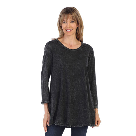 Jess & Jane Solid Mineral Washed Cotton Tunic in Black - M38-BLK
