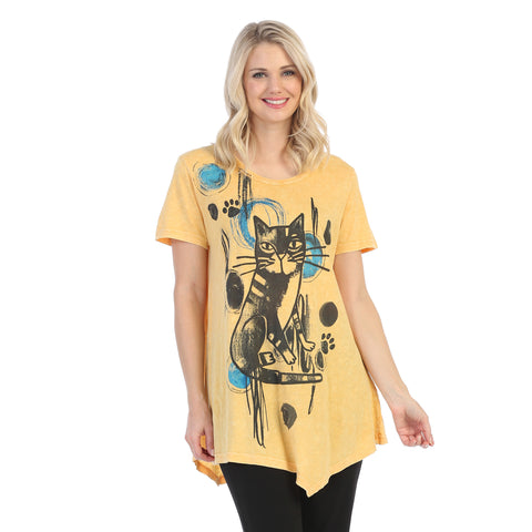 "Jess & Jane ""Rain Cats"" Mineral Washed Cotton Tunic Top - M4-1445"
