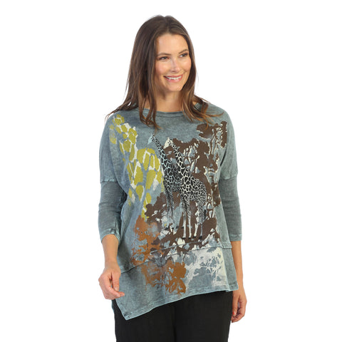 "Jess & Jane ""Kenya"" Abstract Print Mineral Washed Cotton Tunic Top - M41-1516"