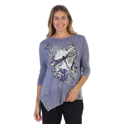 "Jess & Jane ""Fetching"" Dragonfly Print Cotton Tunic Top in Vintage Blue - M41-1310-VTB"