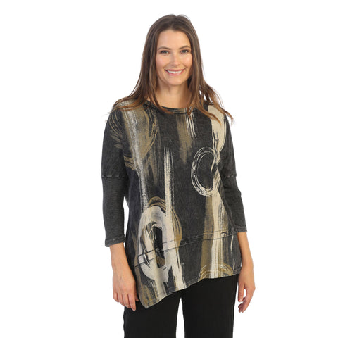"Jess & Jane ""Canali"" Abstract Print Mineral Washed Cotton Tunic Top - M41-1241"
