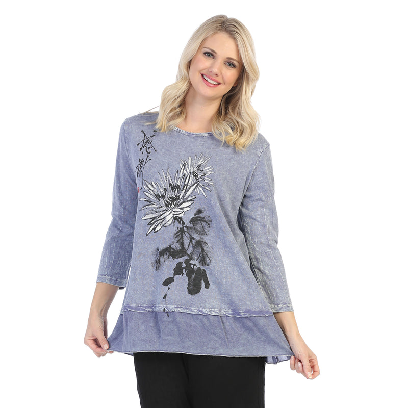 "Jess & Jane ""Christy"" Floral Print Mineral Washed Tunic Top - M48-1462"