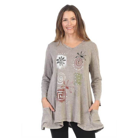 "Jess & Jane ""Patchwork"" Mineral Washed Cotton Tunic in Taupe - M50-1381 - Size XL Only"