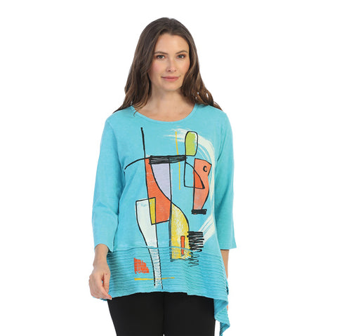 "Jess & Jane ""Modern Art"" Abstract Print Mineral Washed Tunic - M54-1499"