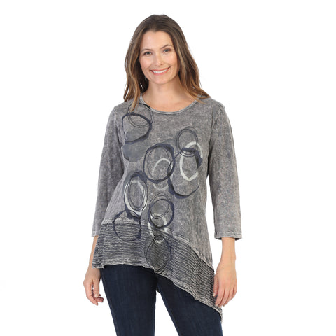 "Jess & Jane ""Echoes"" Abstract Print Mineral Washed Tunic - M54-1407"