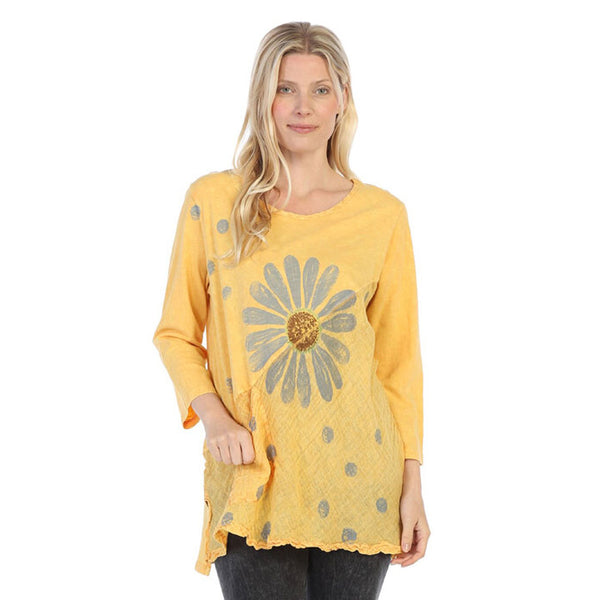"Jess & Jane ""Happy Days"" Mineral Washed Tunic with Linen Contrast - M62-1361"
