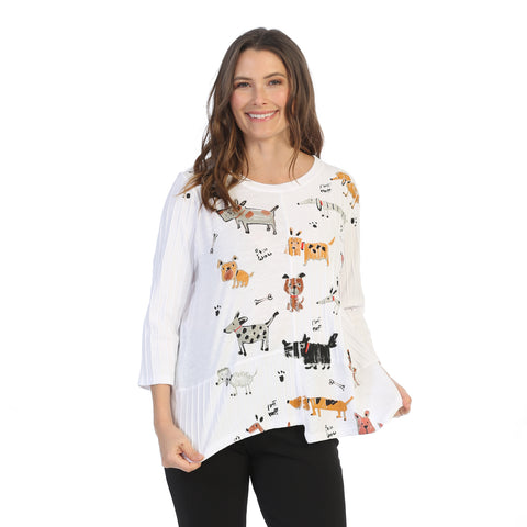 "Jess & Jane ""Critters"" Abstract Print Tunic Top w/ Rib Contrast - M67-1442"