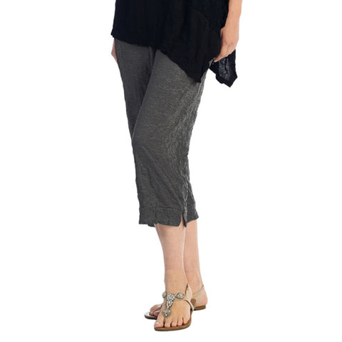 Crinkle Comfort by Jess and Jane Crushed Capri Pants in Charcoal - MC106CC