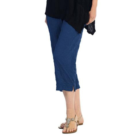 Crinkle Comfort by Jess & Jane Crushed Capri Pants in Denim - MC106DN