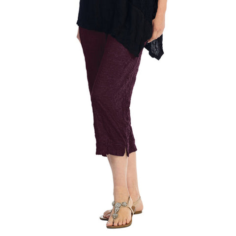 Crinkle Comfort by Jess and Jane Crushed Capri Pants in Eggplant - MC106EG