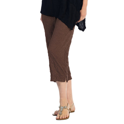 Crinkle Comfort by Jess and Jane Crushed Capri Pants in Walnut - MC106WA