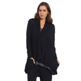 Crinkle Comfort Crushed Hi-Low Cardigan in Black - MC117 - Size M Only