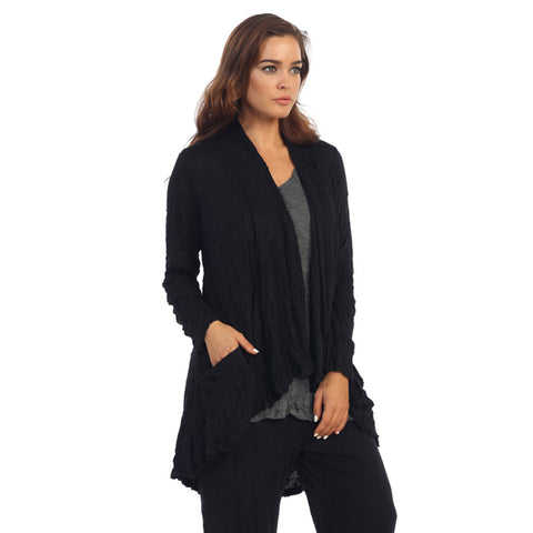 Crinkle Comfort by Jess & Jane Crushed Hi-Low Cardigan in Black - MC117
