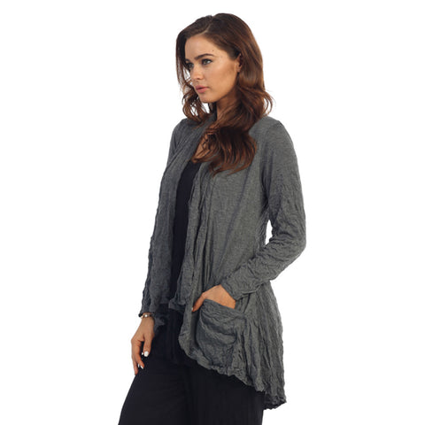 Crinkle Comfort by Jess & Jane Hi-Low Cardigan in Charcoal - MC117CC