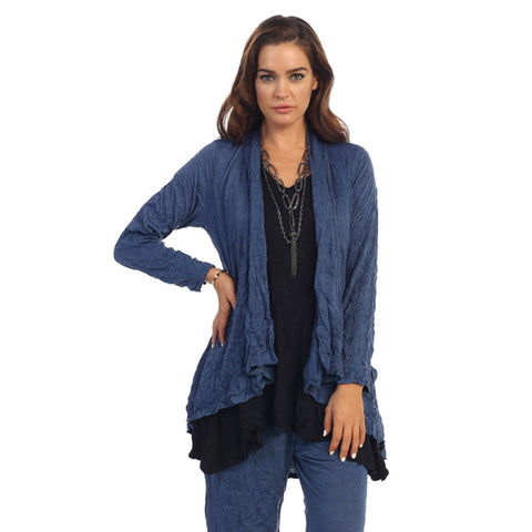 Crinkle Comfort by Jess & Jane Crushed Hi-Low Cardigan in Denim Blue - MC117DN