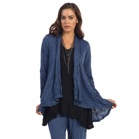Crinkle Comfort by Jess & Jane Hi-Low Cardigan - Denim Blue - MC117DN - Sizes S, M & 3X Only