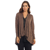 Crinkle Comfort by Jess & Jane Hi-Low Cardigan in Walnut - MC117-WA