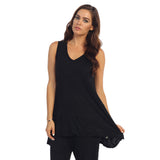 Crinkle Comfort by Jess & Jane Tunic Tank in Black - MC119