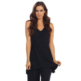 Crinkle Comfort by Jess & Jane Tunic Tank in Black - MC119-BLK
