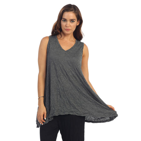 Crinkle Comfort by Jess & Jane Tunic Tank in Charcoal - MC119CC - Sizes 1X & 2X Only