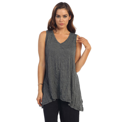 Crinkle Comfort by Jess & Jane Crushed Tunic Tank in Charcoal - MC119CC