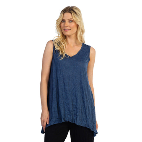 Crinkle Comfort by Jess & Jane Tunic Tank in Blue - MC119-DN - Sizes S, M & L Only