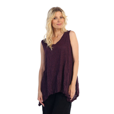 Crinkle Comfort by Jess & Jane Tunic Tank in Eggplant - MC119EG