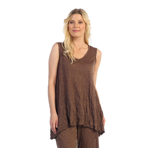 Crinkle Comfort by Jess & Jane Tunic Tank in Walnut - MC119-WA - Sizes M & L Only