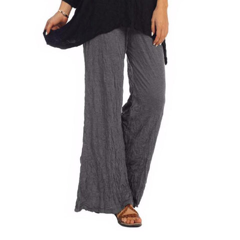 Jess & Jane Crinkle Comfort Crushed Pull-On Pants in Charcoal MC120-CHA - Size 2X Only