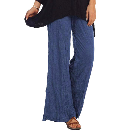 Jess & Jane Crinkle Comfort Crushed Pull-On Pants in Denim Blue - MC120-DN - Size 2X Only