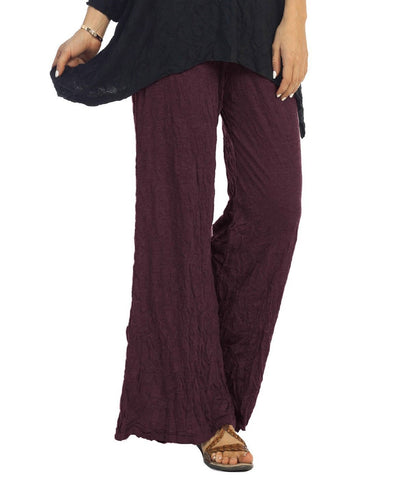 Crinkle Comfort Crushed Pull-On Pants in Eggplant - MC120 - Sizes S, M, L & 2X Only