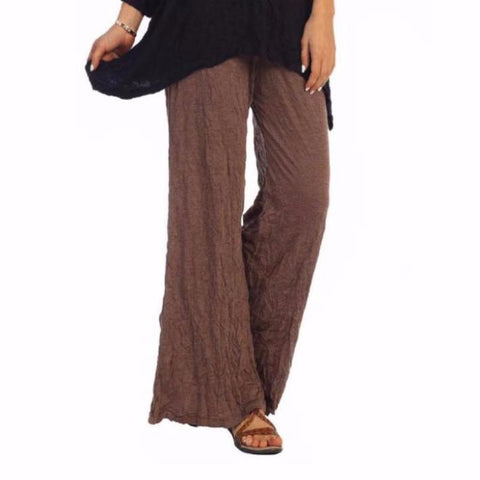 Jess & Jane Crinkle Comfort Crushed Pull-On Pants in Walnut - MC120-WA - Size 3X Only