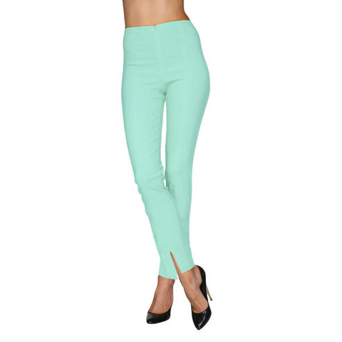 Mesmerize Pants with Front Ankle Slits and Front Zipper in Mint Blue - MA21-MTBL
