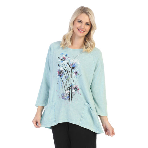 "Jess & Jane ""Felicity"" Floral Mineral Washed Tunic Top in Mint - M12-1452"