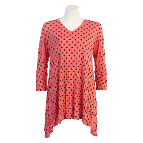 "Jess & Jane ""Polka Dots"" Melange Crushed Tunic in Coral - MP3-550CO"