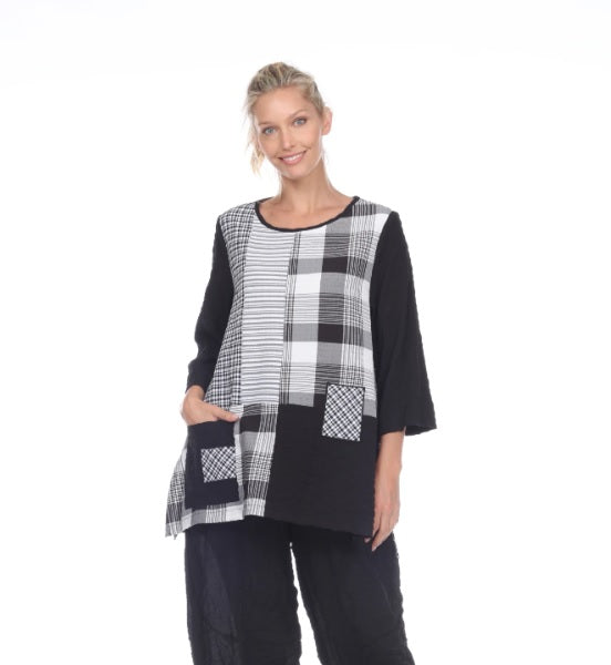 Moonlight Mixed-Print Pocket Tunic in Black/White -2221-BK