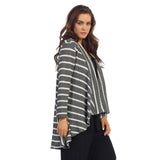 Crinkle Comfort by Jess & Jane Stripe Sweater Knit Cascade Cardigan in Gray and White - NK5123