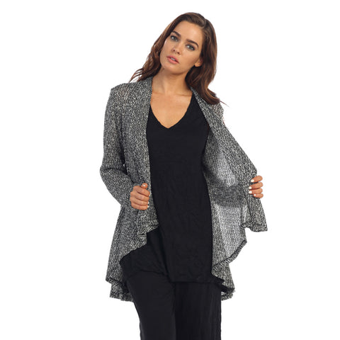 High-Low Shawl Collar Open Front Sweater Cardigan in Black and White- NK8124