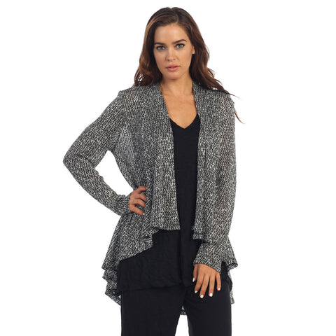 Jess & Jane High-Low Lightweight Knit Cardigan in Black /White- NK8124