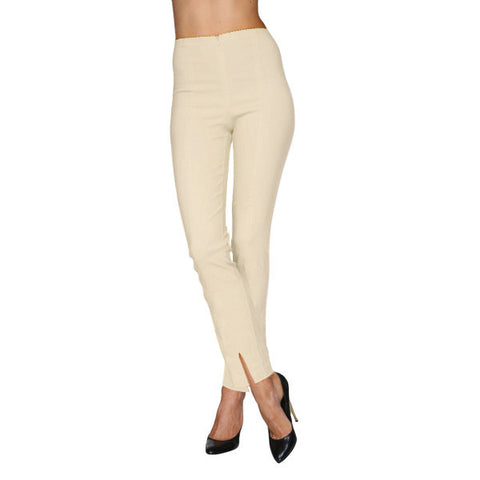 Mesmerize Pants with Front Ankle Slits and Front Zipper in Light Khaki - MA21-LKH