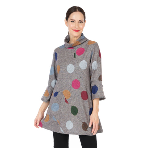 Damee Polka Dot Knit Mock Neck Tunic in Taupe Multi -9156-TPE - Size L Only