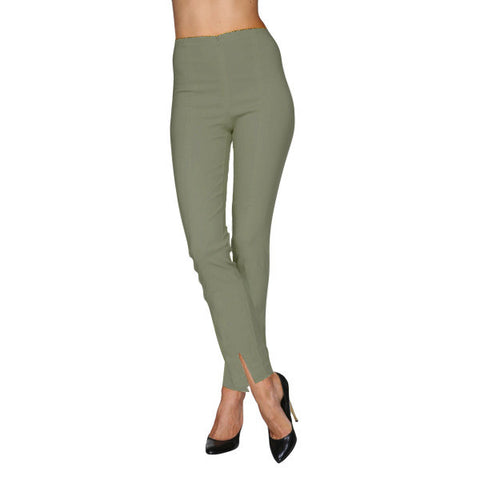 Mesmerize Pants with Front Ankle Slits and Front Zipper in Olive - MA21-OLV