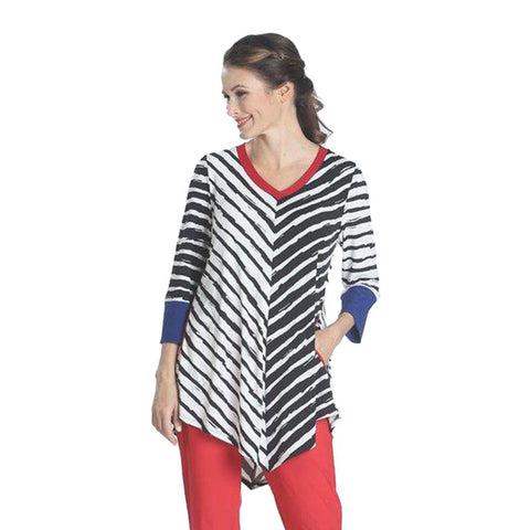 IC Collection Striped V-Neck Pocket Tunic - 1034T